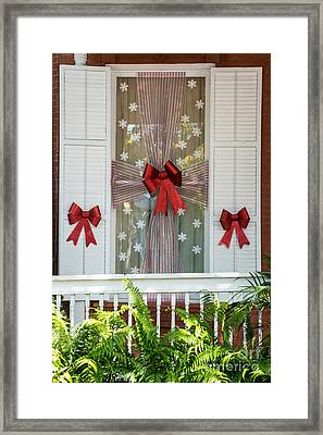 Decorated Christmas Window Key West Framed Print by Ian Monk