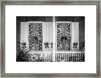 Decorated Christmas Windows Key West - Black And White Framed Print by Ian Monk