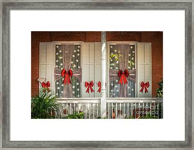 Decorated Christmas Windows Key West - Hdr Style Framed Print by Ian Monk