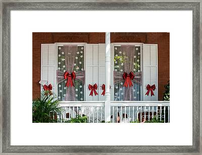 Decorated Christmas Windows Key West  Framed Print by Ian Monk