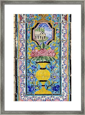 Decorated Tile Work At The Golestan Palace In Tehran Iran Framed Print by Robert Preston