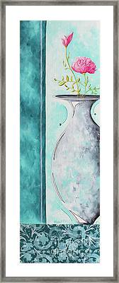 Decorative Floral Vase Painting Shabby Chic Style Relax And Unwind I By Madart Studios Framed Print by Megan Duncanson