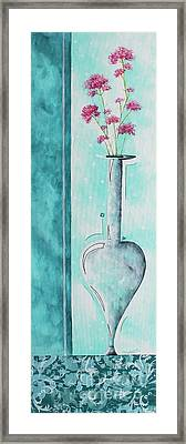 Decorative Floral Vase Painting Shabby Chic Style Relax And Unwind II By Madart Studios Framed Print by Megan Duncanson
