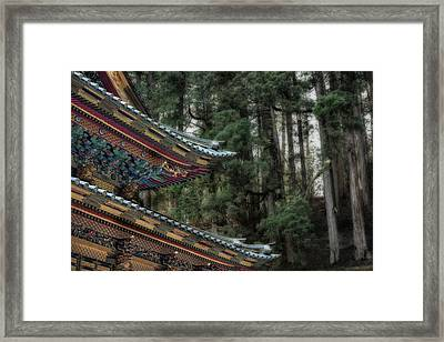 Decorative Japanese Temple Roof Framed Print by Sheila Haddad
