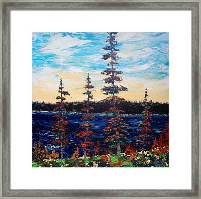 Decorative Pines Lakeside - Early Dusk Framed Print