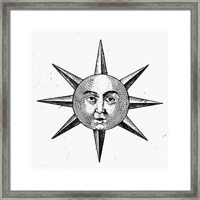 Decorative Sun Face Framed Print by Granger