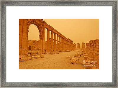 Decumanus The Colonnaded Street At Palmyra Syria In The Light After A Sandstorm Framed Print by Robert Preston