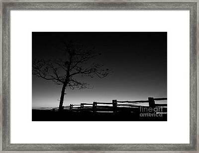 Deep Blue Dawn On The Blue Ridge Parkway Bw Framed Print