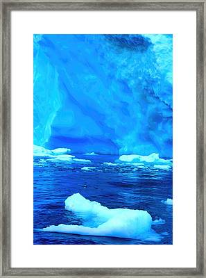 Framed Print featuring the photograph Deep Blue Iceberg by Amanda Stadther