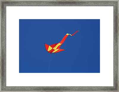 Deep Blue Sky And Kite Framed Print by Phoenix De Vries
