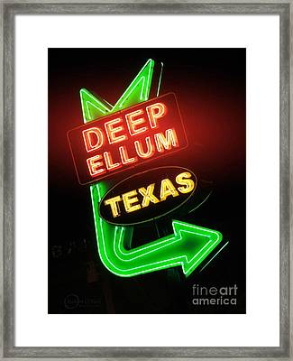 Deep Ellum Red Glow Framed Print