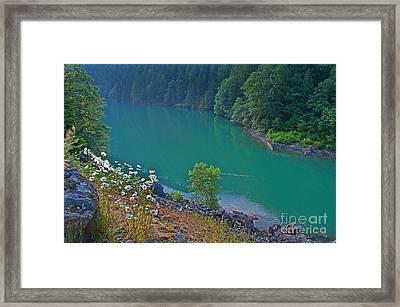 Deep Green River Near Ross Lake Washington In Forest Framed Print by Valerie Garner