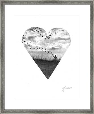 Deep In Our Hearts Framed Print by J Ferwerda