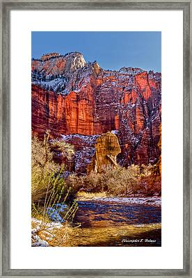 Deep In Zion Canyon Framed Print by Christopher Holmes