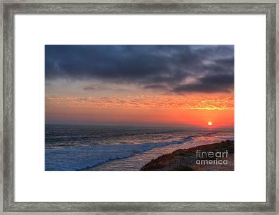 Deep Red Sunset Framed Print by Deborah Smolinske