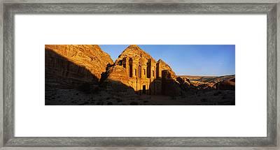 Deep Shadows At The Monastery, Al Deir Framed Print