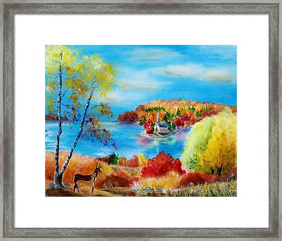 Deer And Country Church Autumn Scene Framed Print by Melanie Palmer