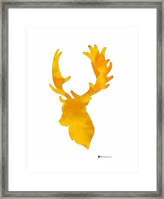 Deer Antlers Image Watercolor Art Print Painting Framed Print