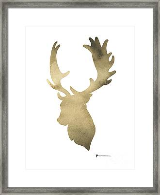 Deer Antlers Original Watercolor Art Print Framed Print by Joanna Szmerdt