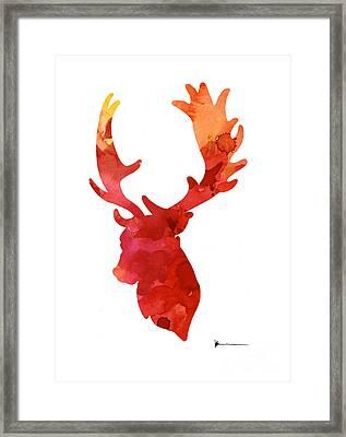Deer Antlers Silhouette Art Print Watercolor Painting Framed Print