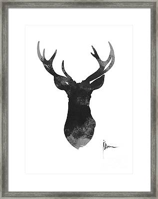 Deer Antlers Watercolor Painting Art Print Framed Print by Joanna Szmerdt