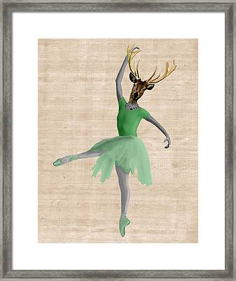 Deer Ballet Dancer Green Framed Print by Kelly McLaughlan