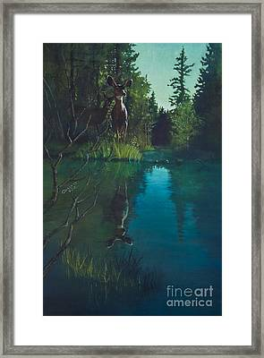 Deer Crossing Framed Print