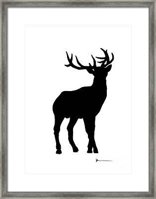 Deer Figurine Silhouette Watercolor Art Print Painting Framed Print