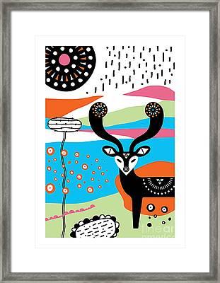 Deer Garden Framed Print