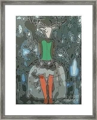 Deer Girl Framed Print by Amy Sorrell