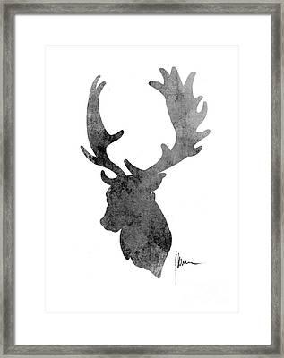 Deer Head Art Print Watercolor Painting Framed Print