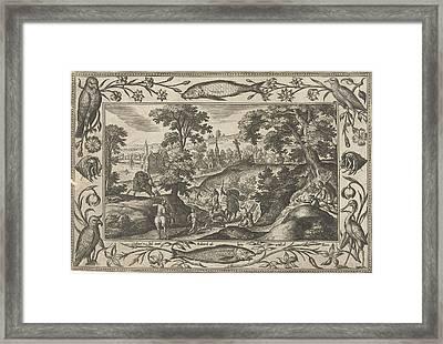 Deer Hunting, Adriaen Collaert, Eduwart Van Hoeswinckel Framed Print by Adriaen Collaert And Eduwart Van Hoeswinckel