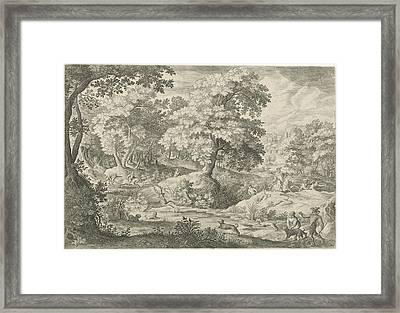 Deer Hunting In A Swamp, Jan Van Londerseel Framed Print
