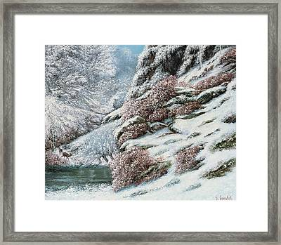 Deer In A Snowy Landscape Framed Print by Gustave Courbet