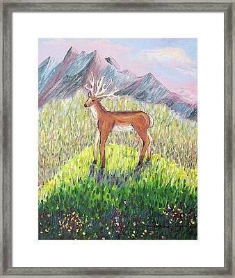 Deer In Field Framed Print by Suzanne  Marie Leclair