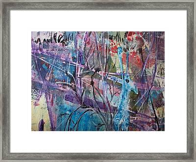 Deer In Magical Forest Framed Print