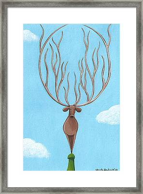 Deer Nursery Art Framed Print by Christy Beckwith