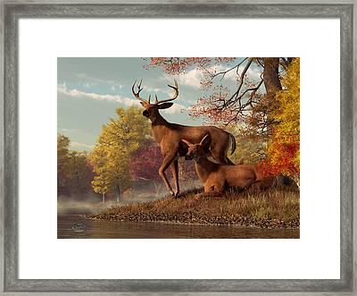 Deer On An Autumn Lakeshore  Framed Print by Daniel Eskridge
