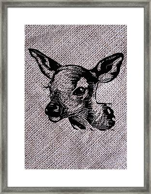 Deer On Burlap Framed Print