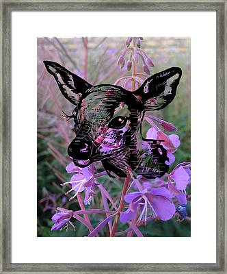 Deer On Flower Framed Print