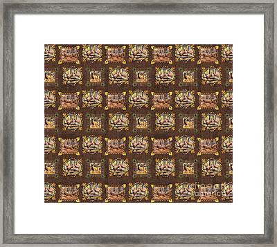 Deer Panel Douvet Design Framed Print