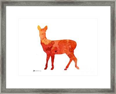Deer Portrait Artprint Watercolor Painting Framed Print