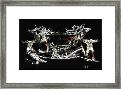Deer Punch Bowl Set Framed Print by EricaMaxine  Price