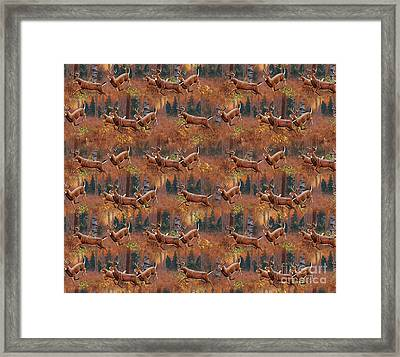 Deer Running Douvet Pillow Design Framed Print