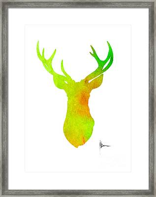Deer Silhouette Art Print Painting Antlers Home Decor Framed Print