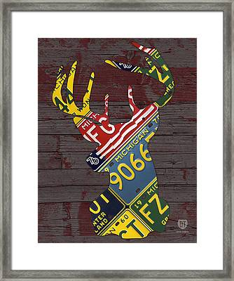 Deer With Antlers Michigan Recycled License Plate Art Framed Print