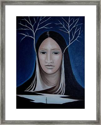 Framed Print featuring the painting Deer Woman  by Tone Aanderaa