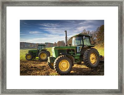 Deere Brothers Framed Print by Debra and Dave Vanderlaan