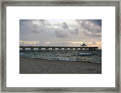 Framed Print featuring the photograph Deerfield Beach International Fishing Pier Sunrise by Rafael Salazar