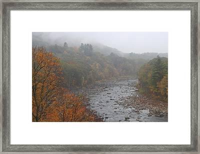 Deerfield River Mohawk Trail Autumn Fog Framed Print by John Burk